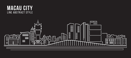 Cityscape Building Line art Vector Illustration design - Macau city