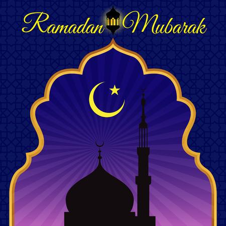 masjid: Ramadon Mubarak - Gold arab window art and masjid at night vector design Illustration