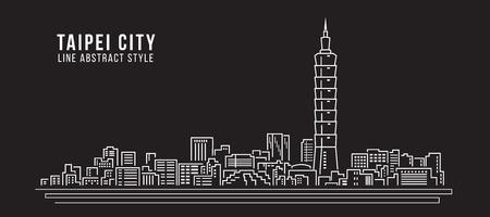 도시 건물의 라인 아트 벡터 일러스트 디자인 - 타이페이 도시