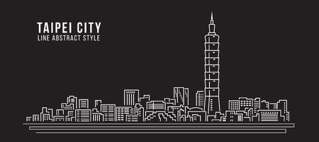 Cityscape Building Line art Vector Illustration design - Taipei city Vectores