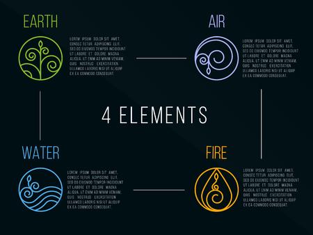 elemento: Natura 4 elementi cerchio logo segno. Acqua, Fuoco, Terra, Aria. su sfondo scuro.
