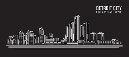 detroit: Cityscape Building Line art Vector Illustration design - detroit city