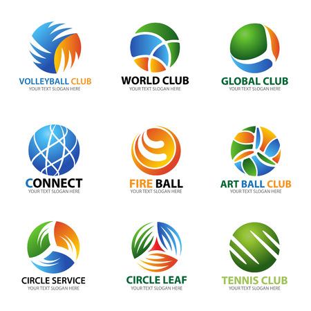 Koło kulkowe logo dla sportu i biznesu wektor zestaw sztuki projektowania Logo