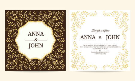 creeping: Wedding card - Yellow and Brown creeping plant frame vintage vector template design