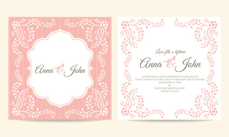 creeping plant: Wedding card - pink and white creeping plant frame vintage vector template design