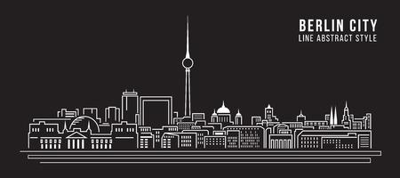 도시 건물 라인 아트 벡터 일러스트 레이 션 디자인 - 베를린 도시 일러스트