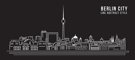 Cityscape Building Line art Vector Illustration design - Berlin city