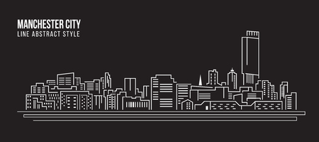 cityscape silhouette: Cityscape Building Line art Vector Illustration design - Manchester city