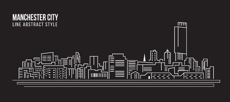 Paisaje urbano de construcción de línea de diseño de la ilustración de arte vectorial - la ciudad de Manchester Ilustración de vector