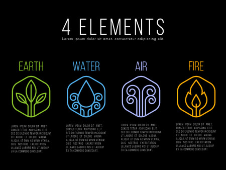Nature 4 elements circle logo sign. Water, Fire, Earth, Air. on hexagon