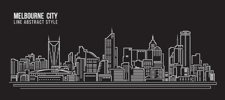 都市の景観建物ライン アート ベクトル イラスト デザイン - メルボルン市内