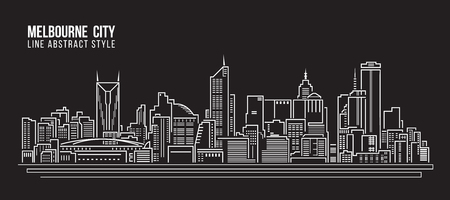 Cityscape Building Line art Vector Illustration design - Melbourne City