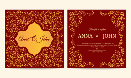 creeping: Wedding card - Gold and red creeping plant frame vintage vector template design