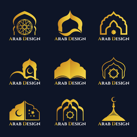 Gold  Arabic windows and doors logo vector set design Illustration