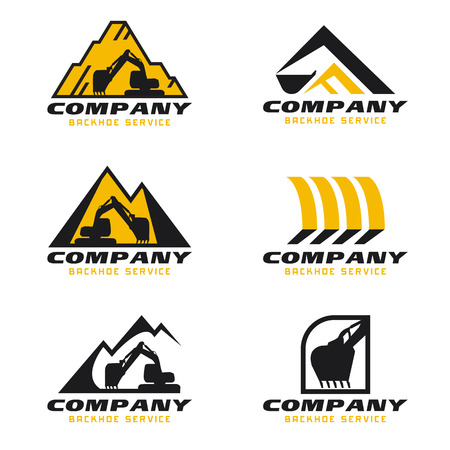 Yellow and black Backhoe service logo vector set design 版權商用圖片 - 66922486