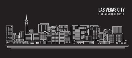 도시 건물의 라인 아트 벡터 일러스트 디자인 - 라스 베이거스 도시 일러스트