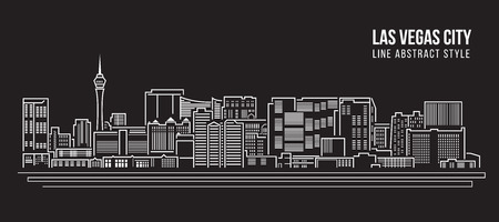 Cityscape Building Line art Vector Illustration design - Las Vegas city