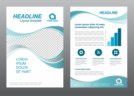 page design: Layout flyer template size A4 cover page Wave Turquoise gray tone Vector design