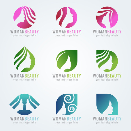 hair beauty: Woman beauty face and hair logo vector set design