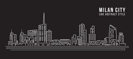 milánó: Cityscape Épület vonal art vektoros illusztráció tervezés - Milánó