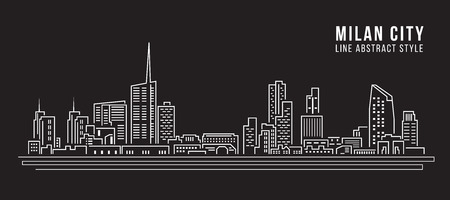 Cityscape Building Line art Vector Illustration design - Milan city Ilustrace