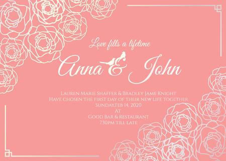 Carta di nozze - Silver Rose cornice floreale e vecchia rosa sfondo modello di disegno vettoriale