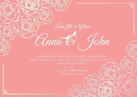 Carte de mariage - argent rose floral frame et vieux rose design fond template vecteur