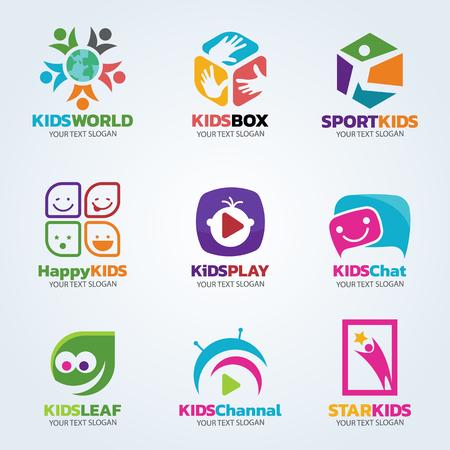 Kids logo for business vector art set design Stock Illustratie