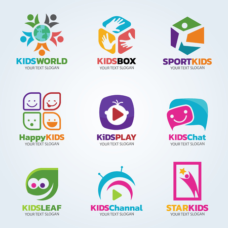 Kids logo for business vector art set design Vectores