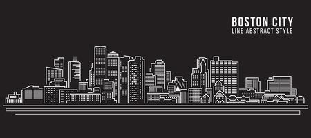 cityscape silhouette: Cityscape Building Line art Vector Illustration design - Boston City Illustration