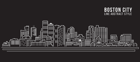 Cityscape Building Line art Vector Illustration design - Boston City Çizim