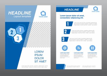 slant: Layout flyer template size A4 cover page slant blue tone Vector design