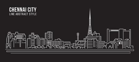 Cityscape Building Line art Vector Illustration design - Chennai city