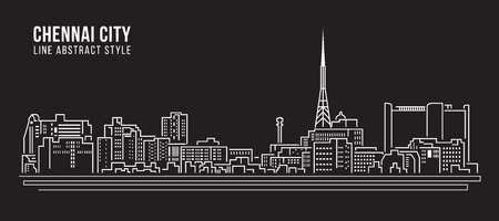 Cityscape Building Line art Vector Illustration design - Chennai city