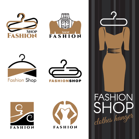 Fashion shop - Brown Dress and Clothes hanger vector set design