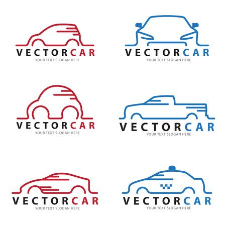 Czerwony i niebieski samochód linii znak wektor zestaw projektu Ilustracje wektorowe