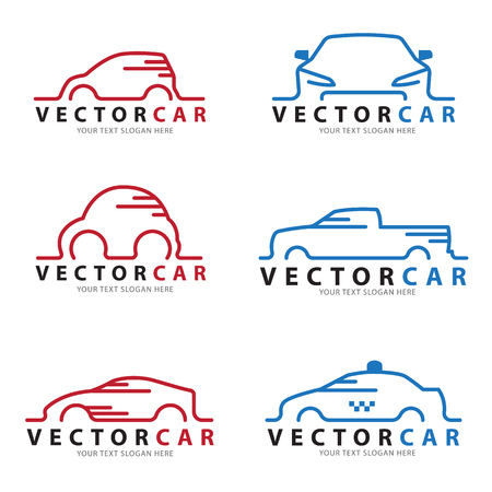 Red and blue Line car sign vector set design