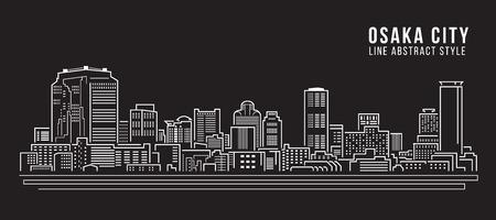 illustration line art: Cityscape Building Line art Vector Illustration design - Osaka city Illustration