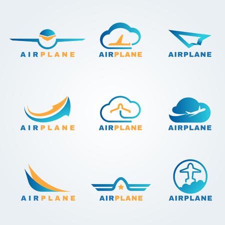 logotipo turismo: establecer cohetes y plano de aire vector de la insignia del diseño