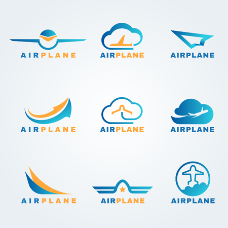 Rocket and air plane logo vector set design Stock Illustratie