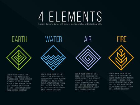 Nature 4 Elemente Diamant Quadrat Zeichen Vektorgrafik