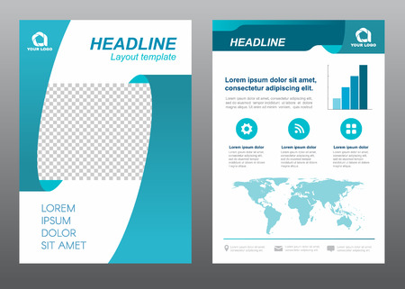 design template: Layout template size A4 cover page ribbon Turquoise tone design Illustration