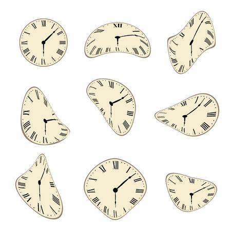 Klasyczny zegar ścienny zniekształcona scenografia
