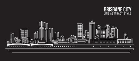 cityscape silhouette: Cityscape Building Line art Illustration design - Brisbane City