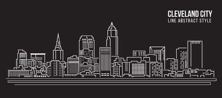 Cityscape Building Line art Illustration design - Cleveland city 矢量图像