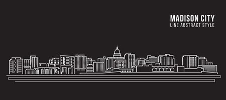 state of wisconsin: Cityscape Building Line art Illustration design - Madison city