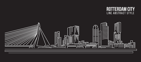 Cityscape Building Line art Illustration design - Rotterdam City Stock Illustratie