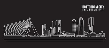 Stadtansicht von Gebäuden Linie Kunst Illustration Design - Rotterdam City Vektorgrafik