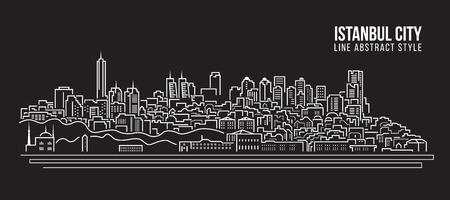 turkey istanbul: Cityscape Building Line art Illustration design - Istanbul City Illustration