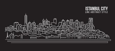 都市の景観建物ライン アート イラスト デザイン - イスタンブール